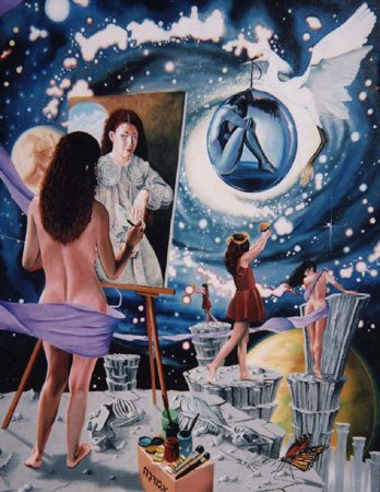 3023: Painting Space Woman American Blue Latorre