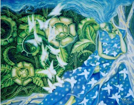 3024: Painting Woman American Blue Latorre