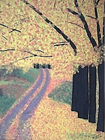 3030: Painting Autumn Leaves Gold American Prater