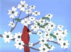 3031: Painting Bird Folk Blue American Prater