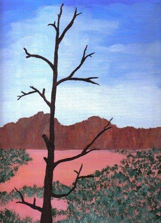 3032: Painting Desert Tree Blue American Prater