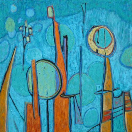 3042: Painting Abstract Music American Blue Shafman