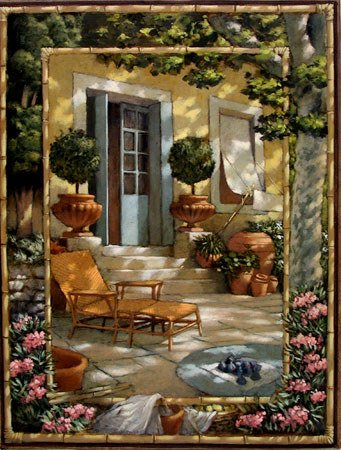 4000: Painting French Door Blue Garden Alberti