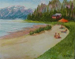 Gouache Painting Beach Water American Goldner