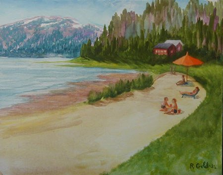 4033: Gouache Painting Beach Water American Goldner