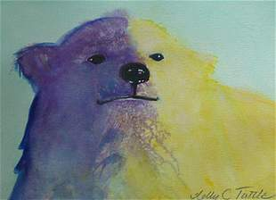 Bear Watercolor Painting American Blue Tuttle