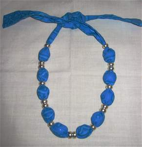 4404: Jewelry Necklace Ribbon Silver Beads Livada