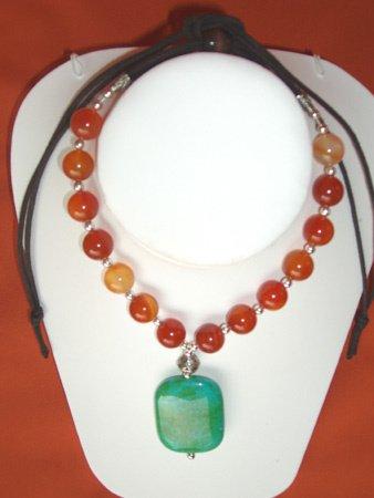 11083: Necklace Silver Green Jewelry Artesana Rozo
