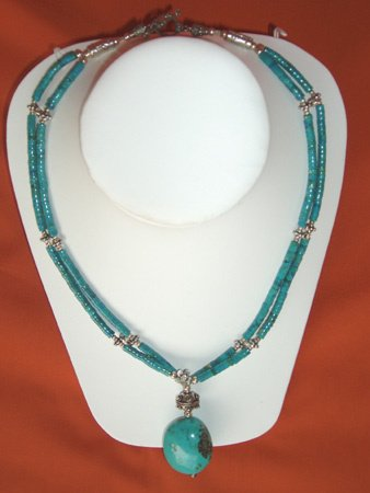 11092: Turquoise Necklace Silver Jewelry Artesana