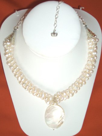 11093: Necklace Silver Pearl Jewelry Artesana Rozo