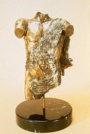 44323: Bronze Sculpture Male Figure American Citrin