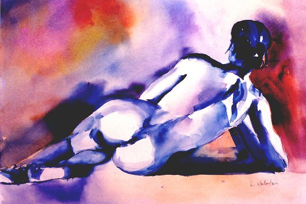 209: Reclining Nude in Blue,   Woolverton