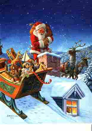 Santa on the Rooftop, By Ruth Sanderson