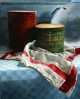 Tea Towels with Tins, By Elizabeth Gibso