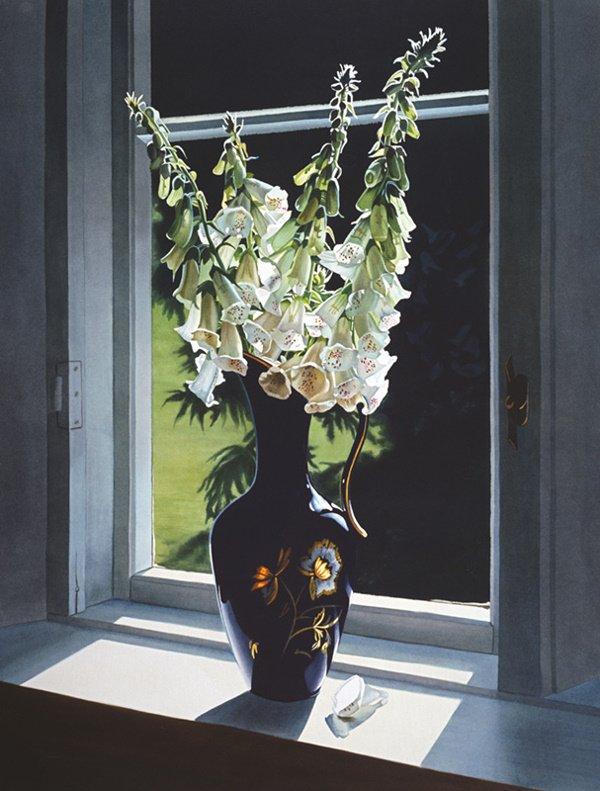 1002: Flower Window Print Vase White by Buer