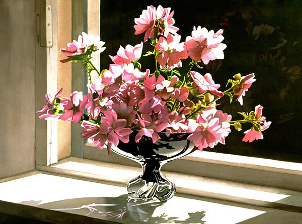1003: Flower Window Print Silver Bowl by Buer