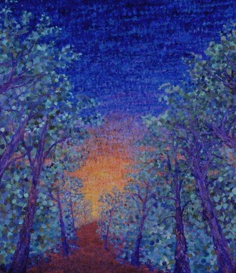 1011: Artist Proof Print Blue Landscape Tree Chong