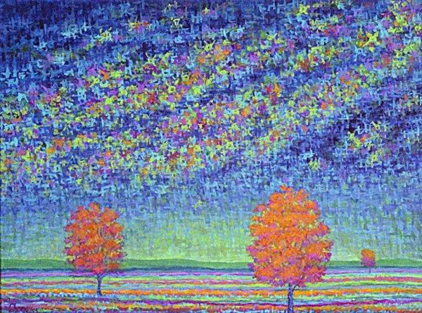 1016: Artist Proof Print Blue Pastel Tree by Chong