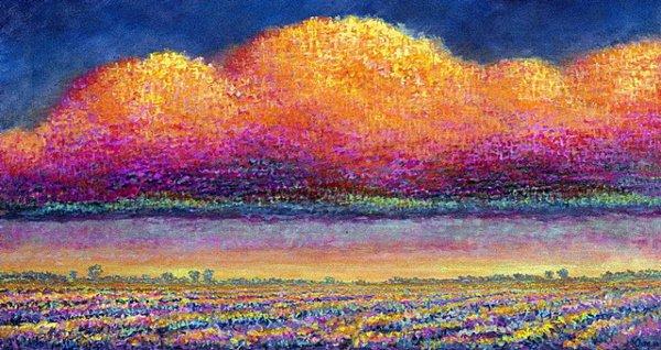 1017: Artist Proof Print Landscape Blue Gold Chong