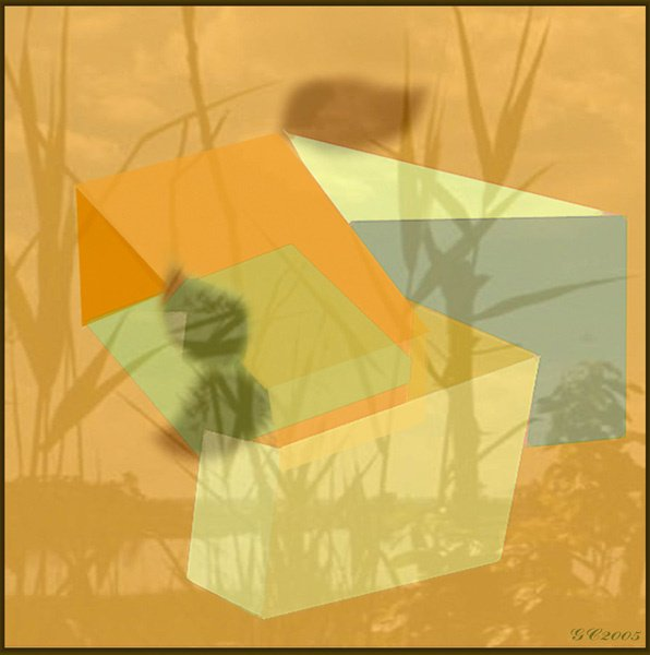 1022: Digital Print Abstract Orange Beach by Cramer