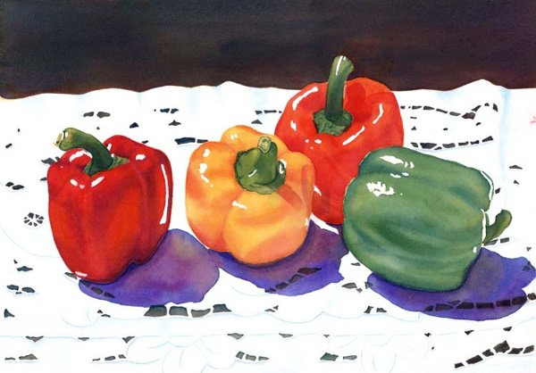 2005: Watercolor Painting Green Pepper Red by Joa