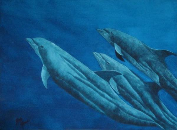 2012: Watercolor Painting Dolphin Blue Ocean Leach