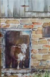 2042: Watercolor Painting Farm Animal Barn Koontz