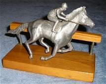 2100: Original Pewter Horse Rail Sculpture Sundberg