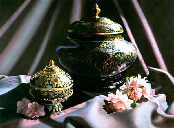 11000: Cloisonne Still Life Print Gold Black by Buer