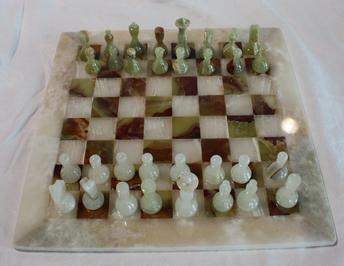 "Handmade Onyx Chess set. Made in Morocco.16""x16"""