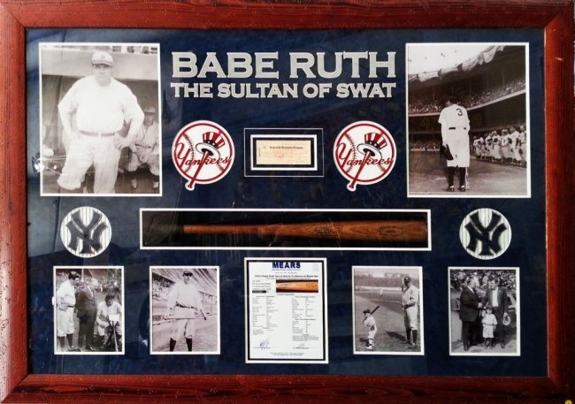 Babe Ruth Collage with Personal Check written to Claire