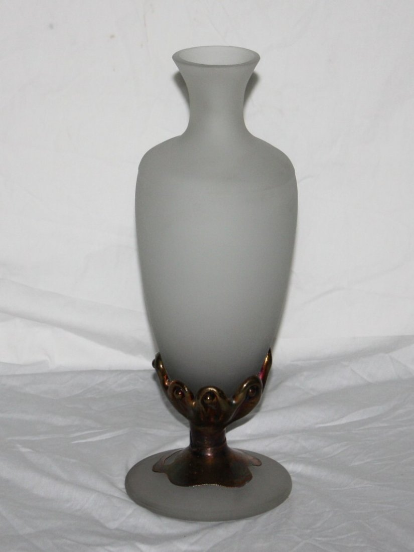 Hand Made frosted glass and molten bronze vase.