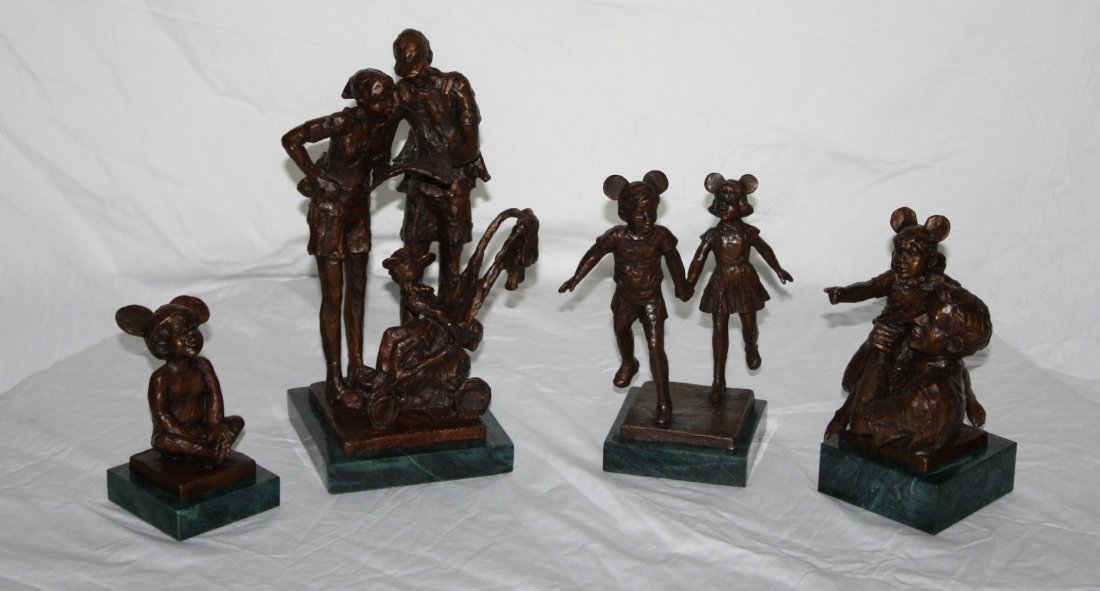 "Set of 4 Dennis Smith ""Disney"" Bronzes. Dated 1999."