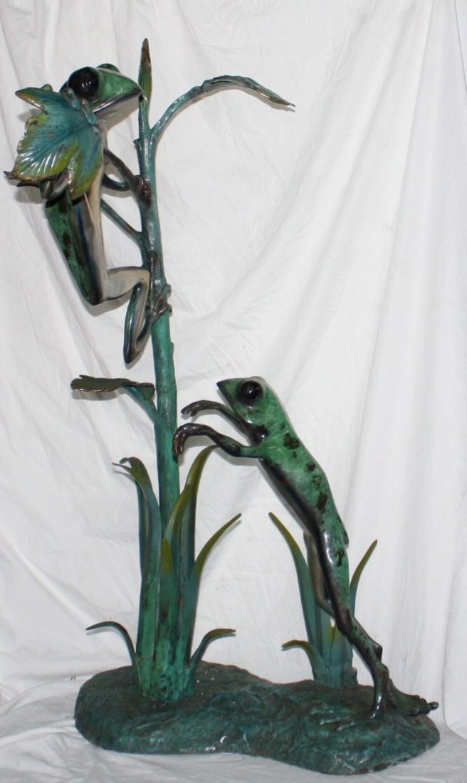 Hand painted Bronze Frogs Sculpture.
