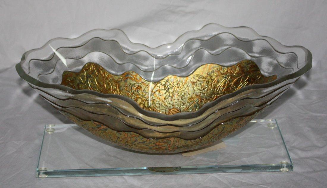 Crystal and 24kt Gold Custom Display Vase