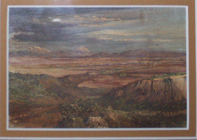 Jose Maria Velasco Oil on postcard