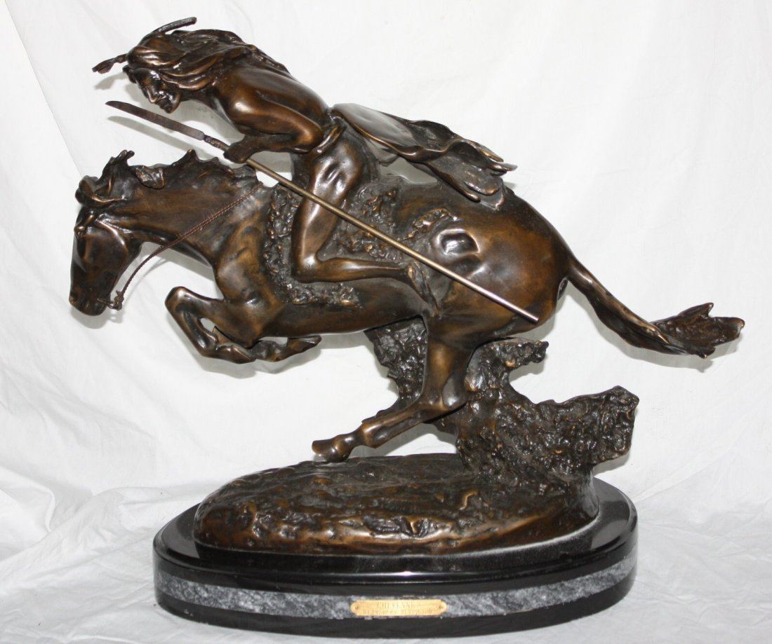 "Bronze Frederick Remington ""Cheyenne"" large sculpture"