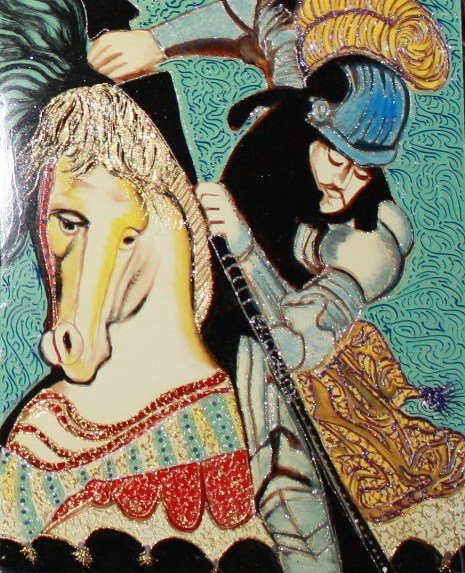 """William Verdult Original """"St. George"""". Oil on Panel"""
