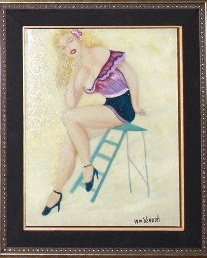 "Vintage William Verdult Original ""Dreaming Beauty"""
