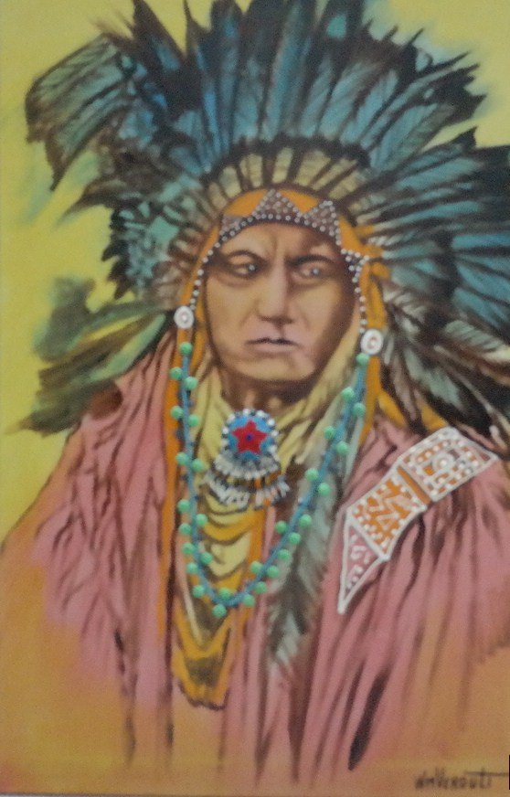 "Original William Verdult, ""Sitting Bull"". Oil on"
