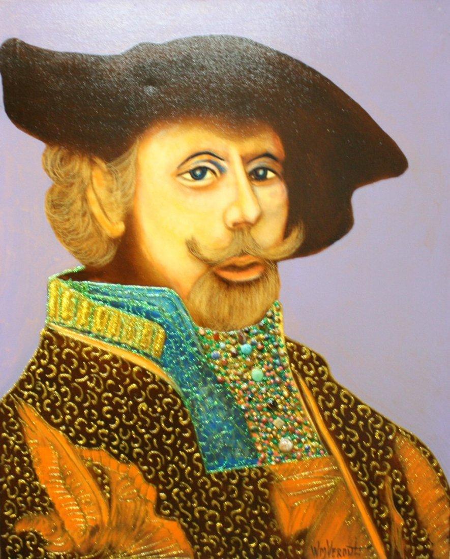 "Original William Verdult, ""Rembrandt"". Oil on Canvas."