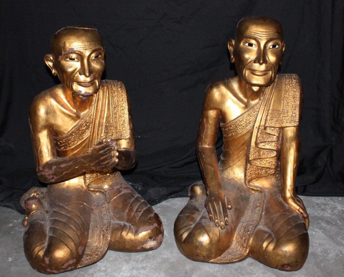 Hand Carved Praying Monks sculptures,