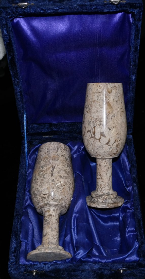 Set of 2 Fossil Stone Goblets