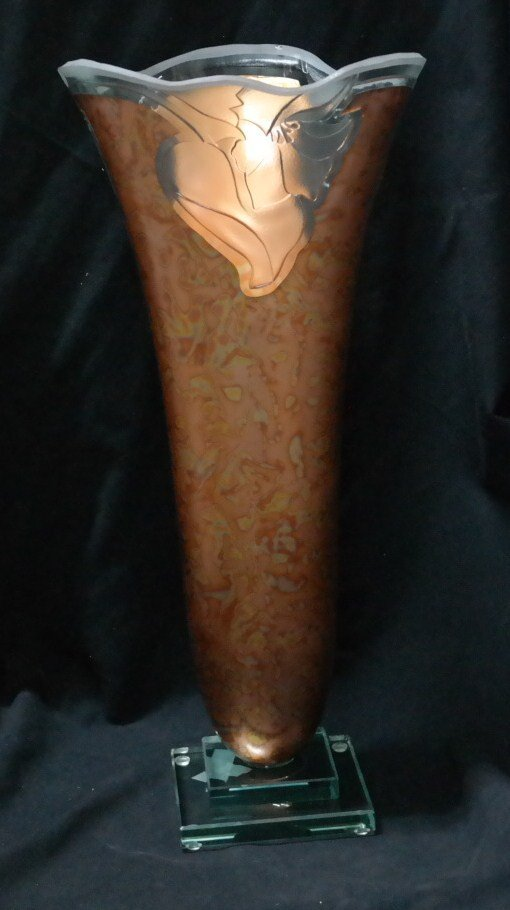Crystal and 24kt Gold custom Showcase Vase
