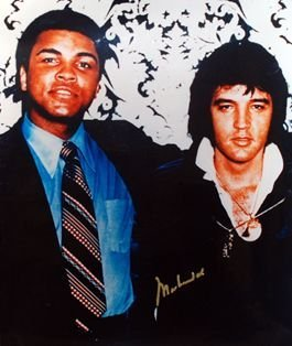 Ali and Elvis Glossy Photo. Signed by Ali