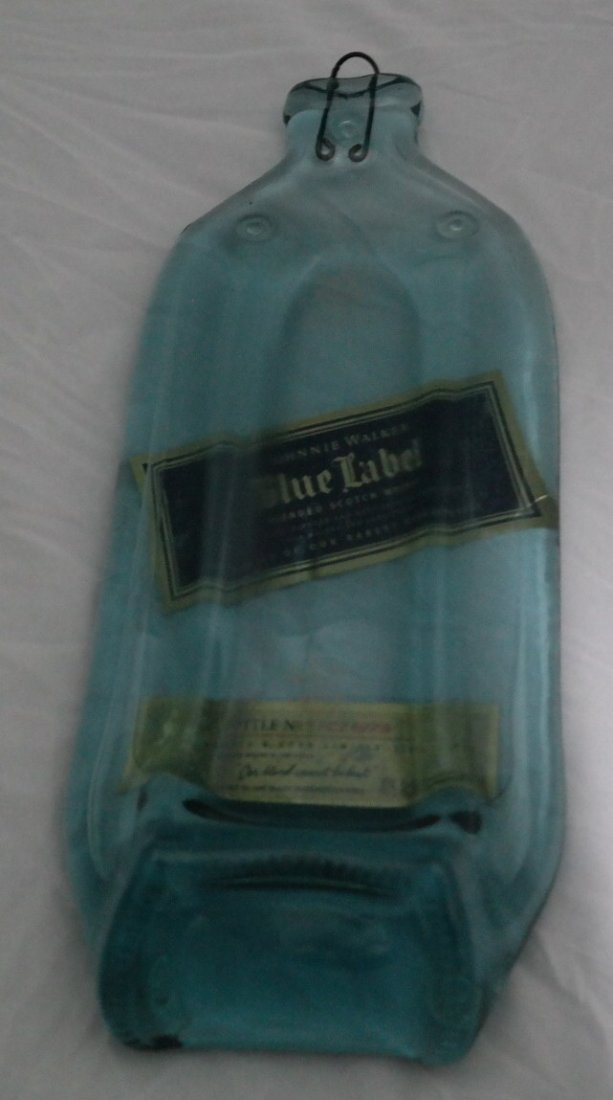 "Hand Made art décor ""Blue Label Bottle""."