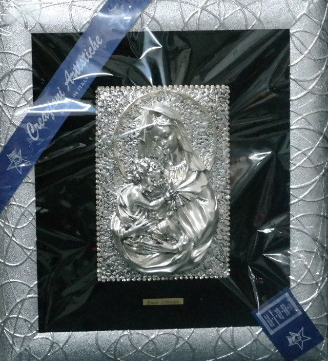 Silver plated Madonna and Chilld made in Italy.