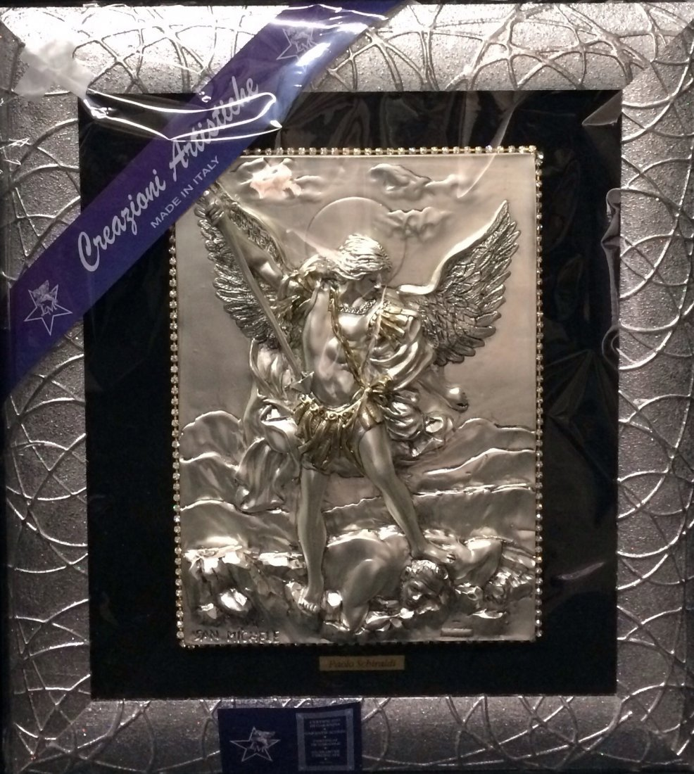 "Silver Plated ""Angel Michael"", made in Italy"
