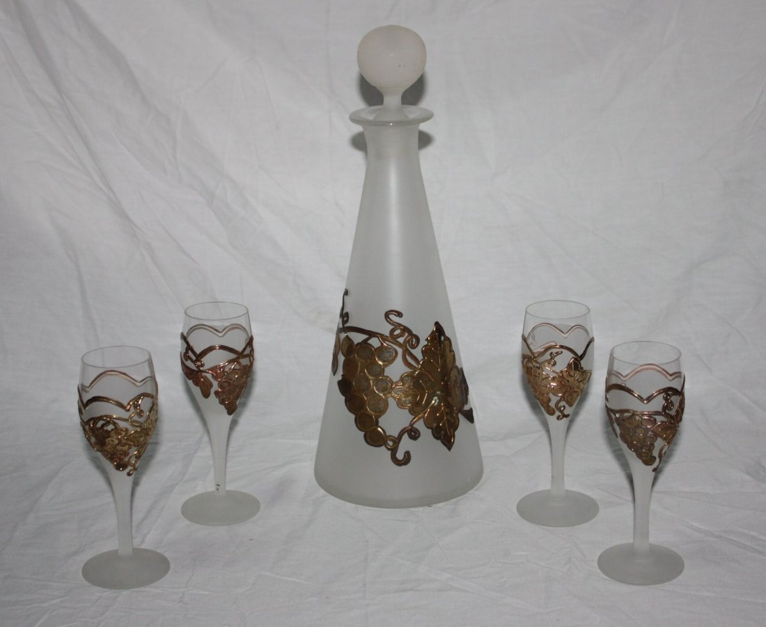 Hand Made Frosted glass with molten broze decanter