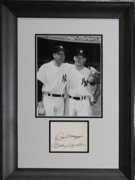 Joe DiMaggio and Mickey Mantle autographs.